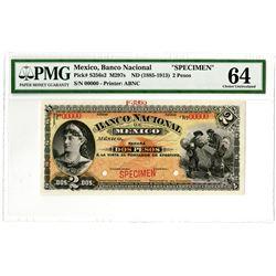 Banco Nacional de Mexico. ND (1885-1913). Specimen Banknote.