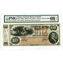 Nacional Monte de Piedad. ND; 1880-1881. Unissued Remainder Banknote.