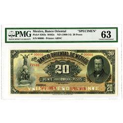 Banco Oriental de Mexico. ND (1900-1914). Specimen Banknote.
