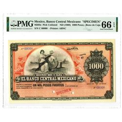 Banco Central Mexicano. ND (1908). Specimen Banknote.