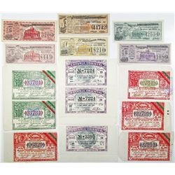 Mexican Lottery Tickets, circa 1904 and 1927 Group of 15 Different.