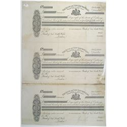 """Bank of New South Wales, ND (ca.1850-70's) """"Dunedin, New Zealand Branch Issue"""" Proof Bills of Exchan"""