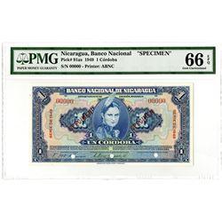 Banco Nacional de Nicaragua. 1949. Specimen Banknote.