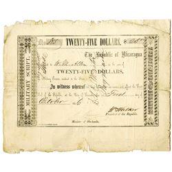 Nicaragua. William Walker Military Script, 1856 Issued $25 Banknote Rarity.
