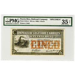 Compania De Los Ferro-Carriles De Puerto Rico. ND (ca.1880) Specimen Banknote.
