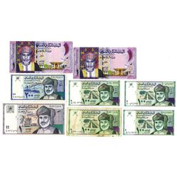 Central Bank of Oman. Lot of 8 Issued Banknotes, ca.1990-2015