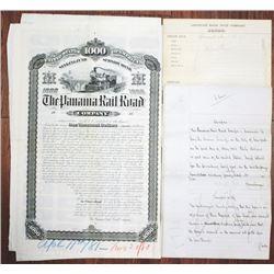 Panama Railroad, 1880 Unique Approval Proof Bond with Production File.
