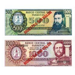 Banco Central del Paraguay. L.1952 (1995). Lot of 2 Specimen Notes.