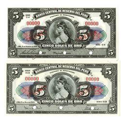Banco Central de Reserva del Peru. 1938-1944. Lot of 2 Specimen Notes.