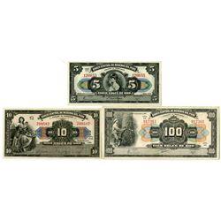 Banco Central de Reserva del Peru. 1941-1947. Trio of Issued Notes.