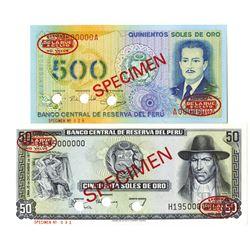 Banco Central de Reserva del Peru. 1976-1977. Lot of 2 Specimen Notes.