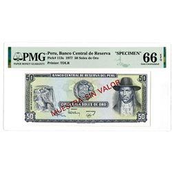 Banco Central de Reserva del Peru. 1977. Specimen Banknote.