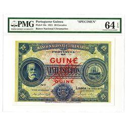 Banco Nacional Ultramarino, 1921 Issue Specimen Banknote