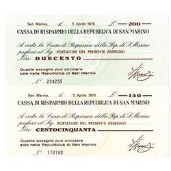Savings Bank of the Republic of San Marino, 1976, Pair of Issued Checks