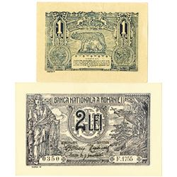 Banca Nationala a Romaniei. 1915-1916. Lot of 2 Issued Notes.