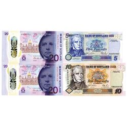 Bank of Scotland Quartet of Issued Banknotes, 1995-2019
