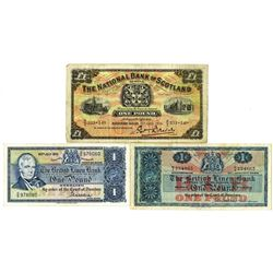British Linen Bank and National Bank of Scotland Trio of Issued Notes, 1936-1970