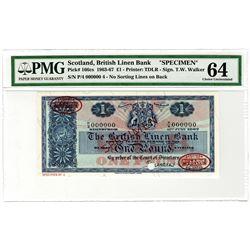 British Linen Bank. 1963-1967. Specimen Banknote.