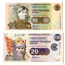 Clydesdale Bank PLC Pair of Issued Banknotes, 1997
