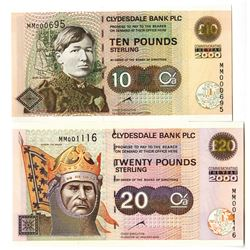Clydesdale Bank PLC Pair of Year 2000 Commemorative Issued Banknotes, 2000