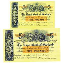 Royal Bank of Scotland. 1961-1964. Lot of 2 Issued Notes.