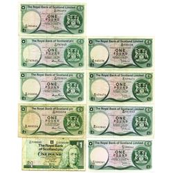 Royal Bank of Scotland Limited and Royal Bank of Scotland PLC, 1973-1996, Group of 9 Issued Banknote