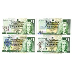 Royal Bank of Scotland Quartet of Issued 1 Pound Commemorative Banknotes, 1992-1999