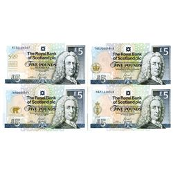 Royal Bank of Scotland Quartet of Issued 5 Pound Commemorative Banknotes, 2002-2005