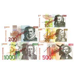 Banka Slovenije. 1992. Lot of 5 Specimen Notes.