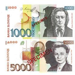 Banka Slovenije. 1993. Lot of 2 Specimen Notes.