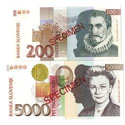 Banka Slovenije. 1997. Lot of 2 Specimen Notes.