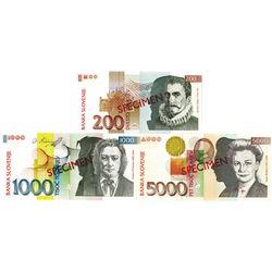 Banka Slovenije. 2000-2001. Lot of 3 Specimen Notes.