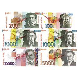 Banka Slovenije. 2003-2004. Lot of 6 Specimen Notes.