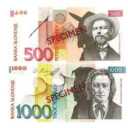 Banka Slovenije. 2005. Lot of 2 Specimen Notes.