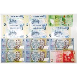 Solomon Islands, Fiji, Samoa, Tonga, Antarctica, Group of 25+ Various Banknotes, ca.1990s