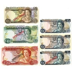 States of Jersey Group of Issued and Specimen Banknotes, 1976-1988