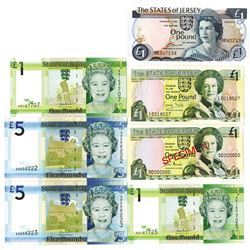 States of Jersey, Group of Specimen and Issued Banknotes,