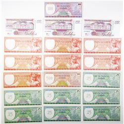 Central Bank of Suriname, Group of 19 Issued Banknotes, 1963-1998