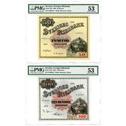 Sverige's Riksbank. 1962 Banknote Pair.