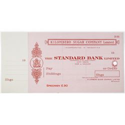 Kilombero Sugar Co. Ltd., 1920-40's Standard Bank Ltd. Specimen Check by Perkins Bacon Ltd.