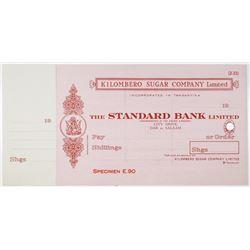 Kilombero Sugar Co. Ltd., 1920-40's Standard Bank Ltd. Specimen Check by Perkins Bacon Ltd.