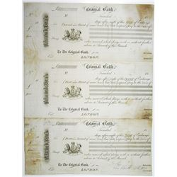 """Colonial Bank, 1871, """"Trinidad"""" Branch Issue Proof Uncut Sheet of 3 Bills of Exchange."""