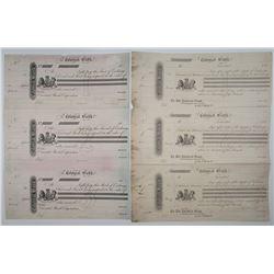 Colonial Bank, 1880s Lot of 2 Uncut Proof Sheets of 3 Bills of Exchange.
