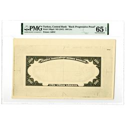 Central Bank of Turkey. ND (1947). Black Progressive Proof Banknote.