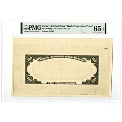 Central Bank of Turkey. ND (1947). Black Progressive Proof Banknote.
