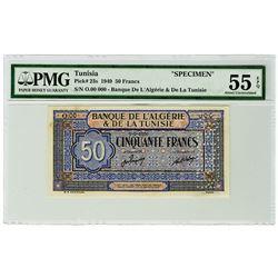 Banque de L'Algerie & De La Tunisie. 1949. Specimen Banknote.