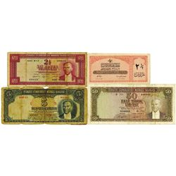 Turkey Issued Banknote Quartet, ca.1950-60's.