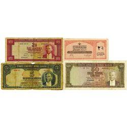 Turkey Issued Banknote Quartet, ca.1950-60's.
