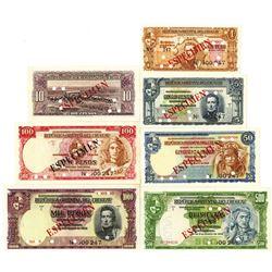 Republica Oriental del Uruguay. 1939. Lot of 7 Specimen Notes.