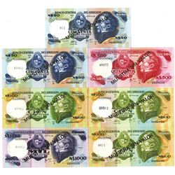Banco Central del Uruguay. 1970s-1980s. Lot of 7 Specimen Notes.